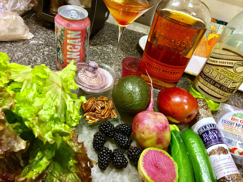 Mise en place for a gorgeous salad, with a Manhattan on the side. (Suzi Thayer photo)