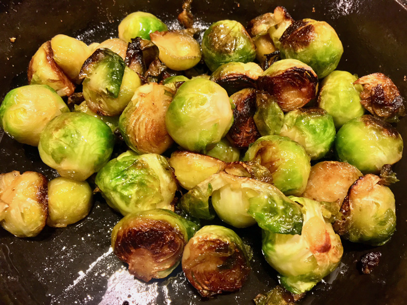 One of my favorite veggies, for holidays or whenever: pan-roasted Brussels sprouts. (Suzi Thayer photo)