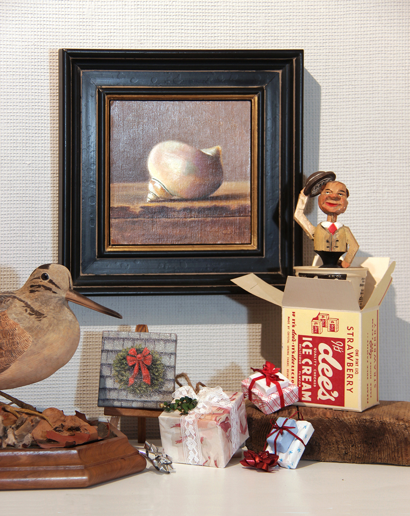 Tiny wrapped gifts for holiday trees by Justine Kefauver, assemblage by Barbara Bean, oils by Cecelia Cox, carvings by John D. McKinley, and miniature oils by Will Kefauver, are just some of the work available at the Kefauver Studio & Gallery.