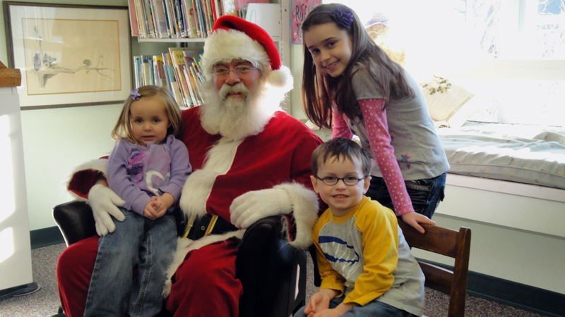 Santa Claus will be at the Waldoboro Public Library to visit with children from 10 a.m. to noon on Saturday, Dec. 15.