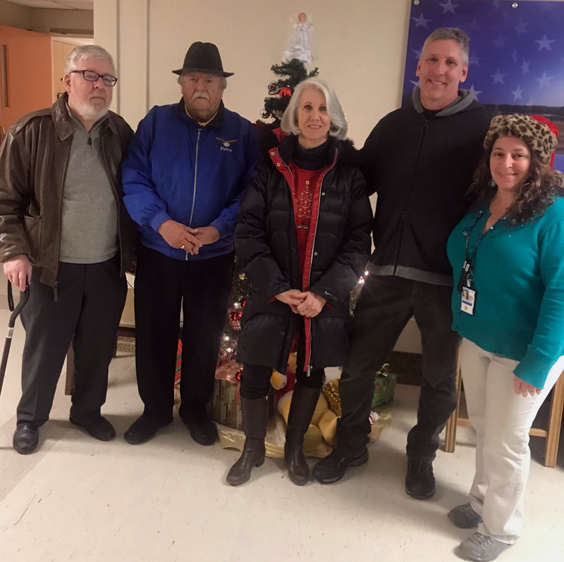 From left: Waldoboro Lions Larry Newbert, Lou Cook, Pamela Edwards, and Scott Lund with Liz Marrone, administrator at the U.S. Department of Veteran Affairs' Togus facility in Augusta.