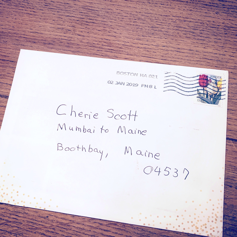 """The popularity of Cherie Scott's pilot episode of """"Mumbai to Maine"""" is evidenced by this letter to Scott, which recently arrived at her home in Boothbay from a fan in Boston without a street address, only the name of her series. (Photo courtesy Cherie Scott)"""