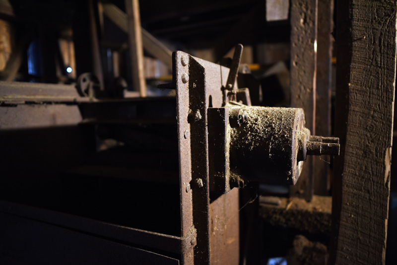 Old equipment in the basement of the Pemaquid Mill. (Jessica Picard photo)