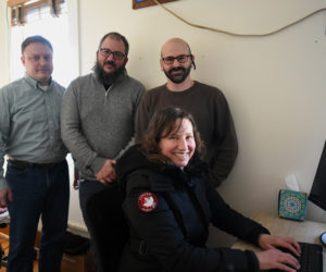 From left: Midcoast CoWork members Erik Mitchell, Jesse Butler, Brian Withers, and Katy Sato-Papagiannis in their downtown office space Friday, Jan. 11. (Jessica Picard photo)