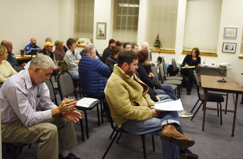 Damariscotta residents and town officials attend a community conversation about marijuana ordinances at the town office Wednesday, Jan. 2. (Jessica Picard photo)