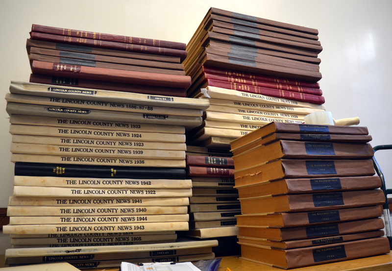 Stacks of bound archives of The Lincoln County News and some of its predecessors. (Maia Zewert photo)