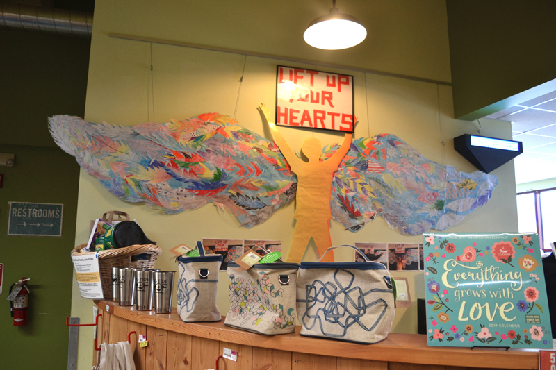 "A group artwork effort by Great Salt Bay Community School students titled ""Lift Up Your Hearts"" on the wall of the cafe of Rising Tide Co-op in Damariscotta on Friday, Jan. 4. (Christine LaPado-Breglia photo)"