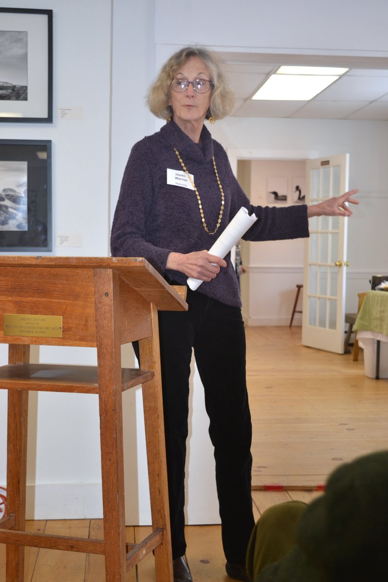 Newcastle artist Helen Warner addresses attendees at the 2019 Maine Arts Iditarod in Damariscotta. (Christine LaPado-Breglia photo)
