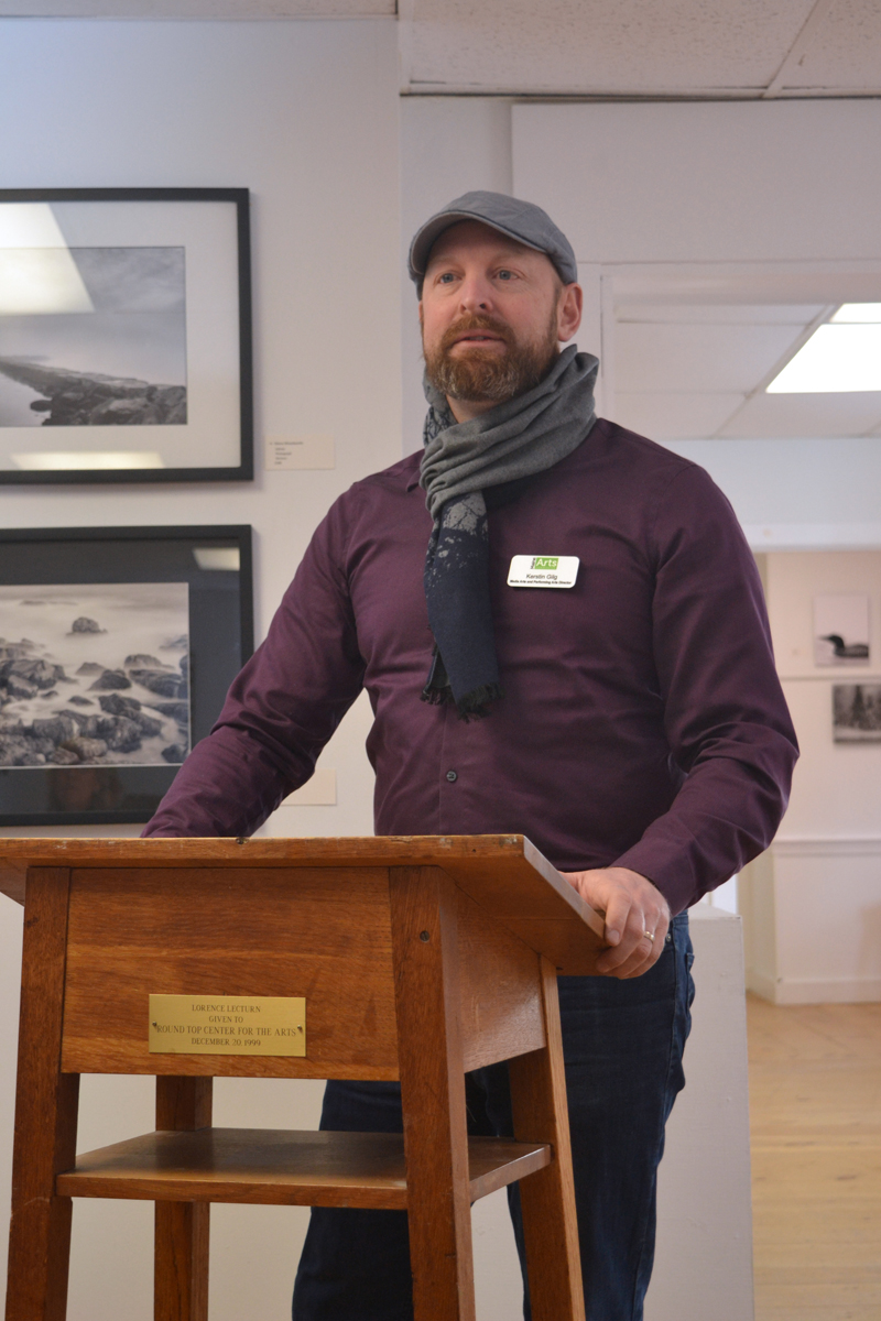 Kerstin Gilg, director of grants and accessibility at the Maine Arts Commission, speaks on the topic of grant funding for artists and art organizations at the 2019 Maine Arts Iditarod in Damariscotta. (Christine LaPado-Breglia photo)