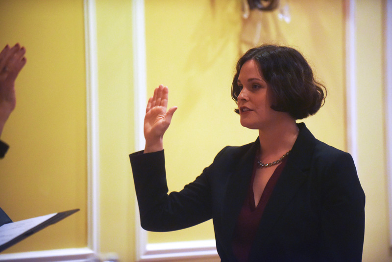 Natasha Irving takes the oath of office as district attorney at The Samoset Resort in Rockport on New Year's Day, Tuesday, Jan. 1. (Jessica Picard photo)