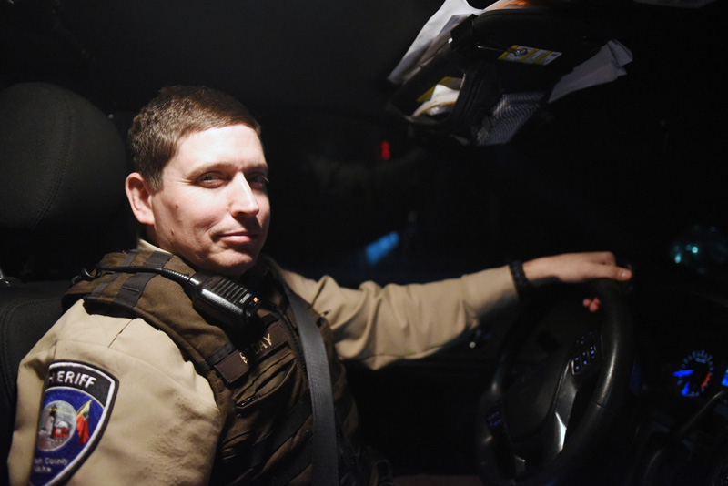 Lincoln County Sheriff's Office Sgt. Matthew Day at the wheel of his cruiser Thursday, Jan. 10. (Jessica Picard photo)