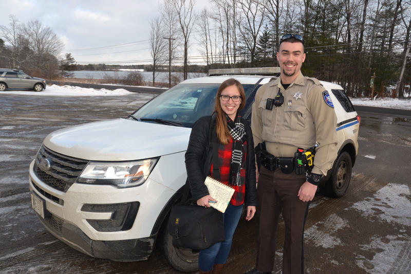 Reporter Jessica Picard with Lincoln County Sheriff's Deputy Chase Bosse on Thursday, Jan. 10. Picard accompanied Bosse and Sgt. Matthew Day on patrol Thursday afternoon and evening. (Maia Zewert photo)