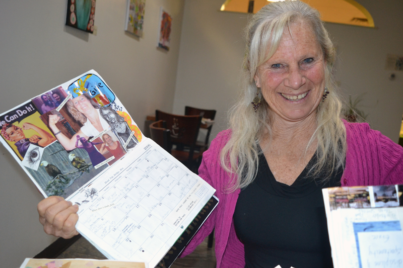 Former Lincoln County resident Ellen Brown, now of Camden, has been turning Lincoln County News calendars into engaging family scrapbooks since 1993. (Christine LaPado-Breglia photo)