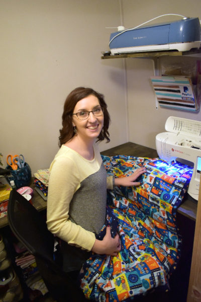 Erica St. Peter, owner of St. Peter's Sew Sweet Creations, sews a weighted blanket. (Photo courtesy Erica St. Peter)