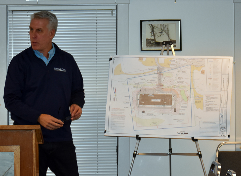 William Gartley, president of Gartley & Dorsky Engineering & Surveying Inc., presents plans for American Unagi LLC's facility at the Waldoboro Business Park. (Alexander Violo photo)