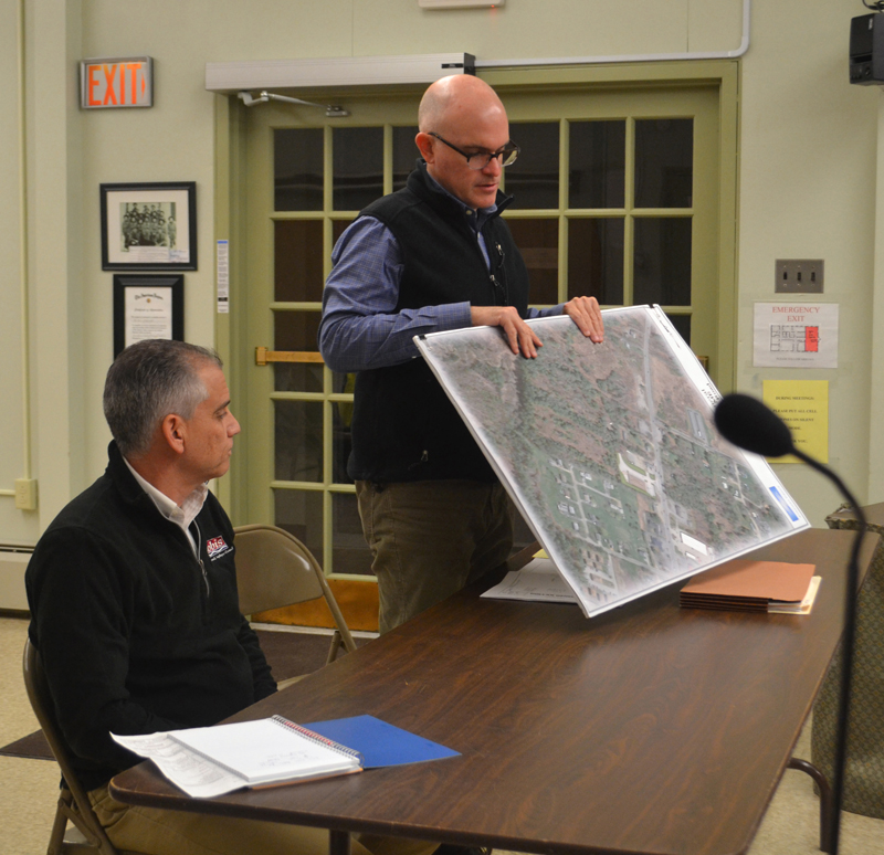 Chris Nadeau (left) and Matt Casey present plans to build a Dollar General store on Route 1 in Wiscasset to the Wiscasset Planning Board on Monday, Jan. 28. (Charlotte Boynton photo)