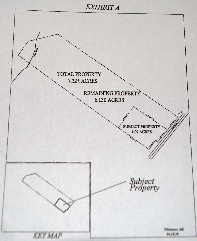 A diagram shows the 1.09-acre parcel where a developer plans to build a Dollar General Store in relation to a 6.13-acre parcel that belongs to Ship's Chow Hall.