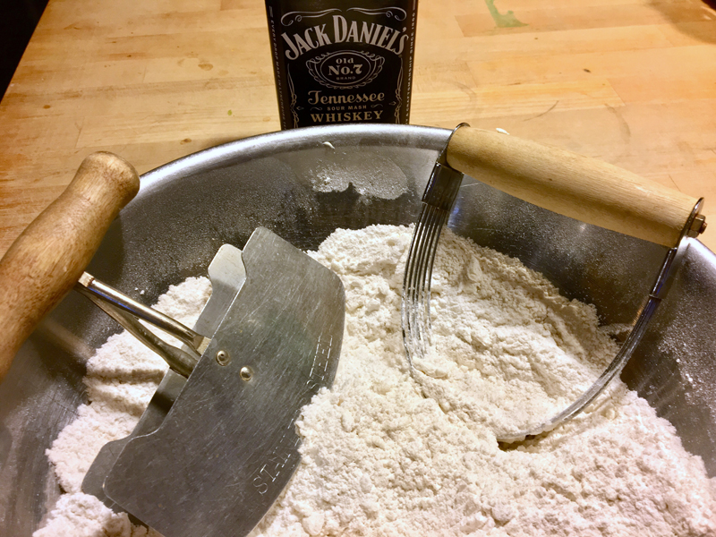 Cut the butter into the flour mix with a cutting tool or a couple of knives. (Suzi Thayer photo)