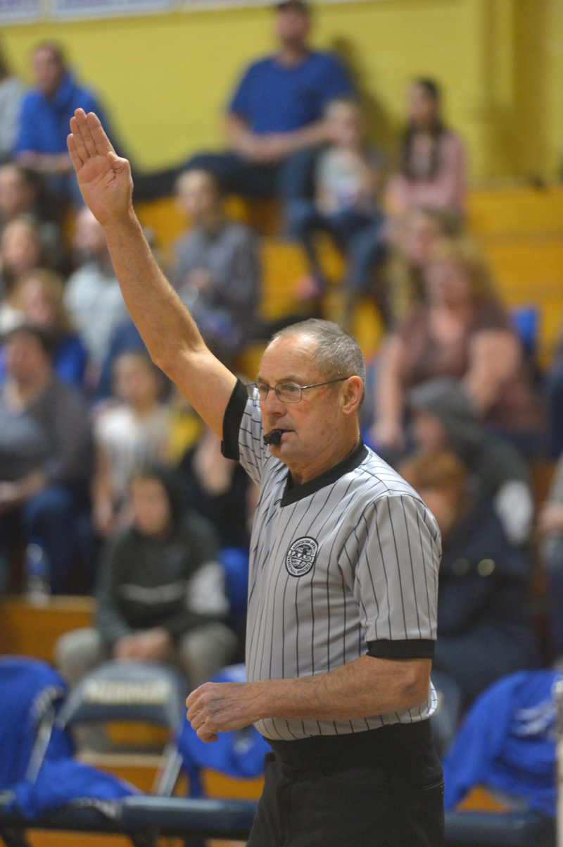 Born in 1942, Walt Gorneau is one of the oldest officials in the state refereeing varsity basketball games. (Paula Roberts photo)
