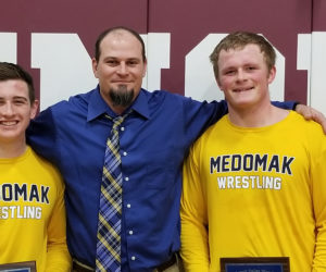 """<span class=""""entry-title-primary"""">Three Medomak Valley athletes reach wrestling milestones</span> <span class=""""entry-subtitle"""">Amos Hinkley and Erik Benner pick up 100th win, Elias Miller his 150th</span>"""