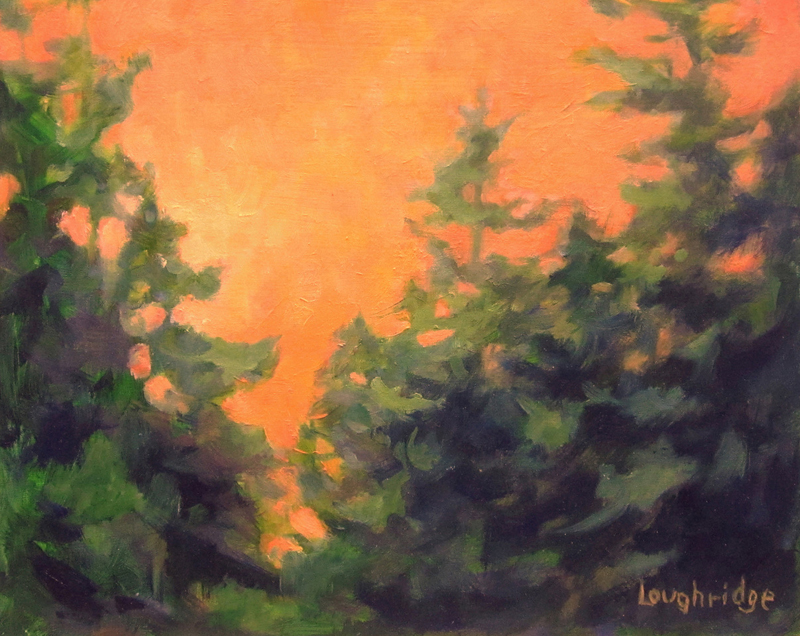 "Sally Loughridge's painting ""Forest Glow."""