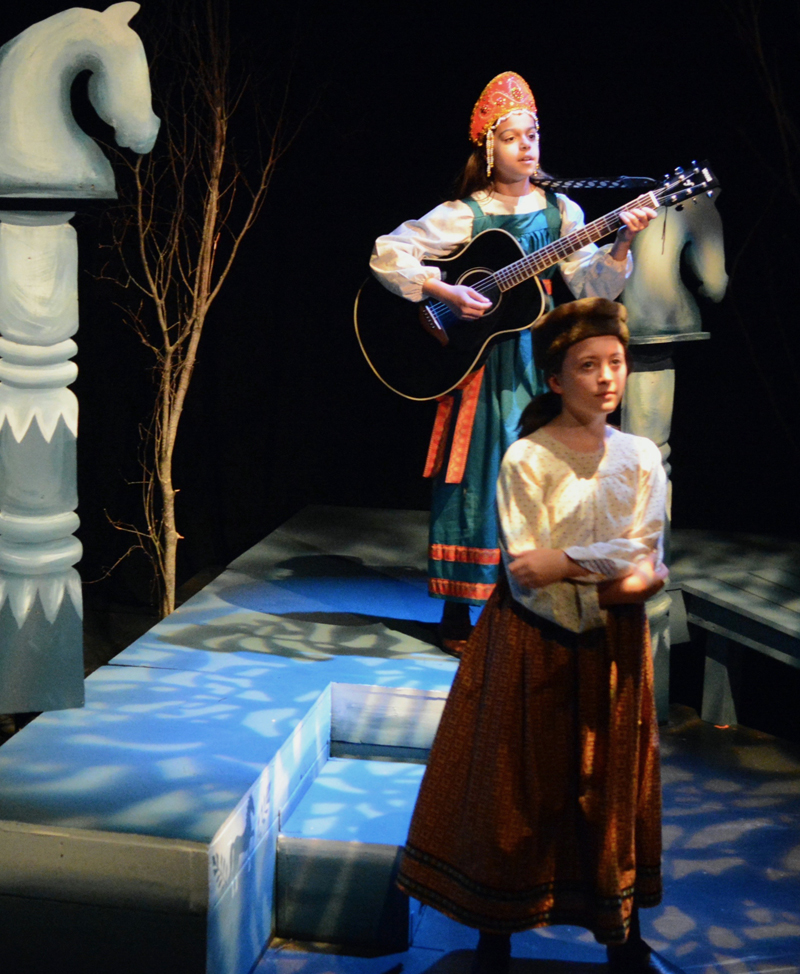 """Sophia Scott (left) adds lyric tunes scored by her father, Guy Scott, throughout """"The Snow Maiden"""" and Anna Lupien plays the role of Kupava. (Photo courtesy Jenny Mayher)"""