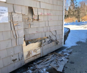 Damage to the side of the ticket booth at Pemaquid Lighthouse Park. (Photo courtesy Bristol Parks and Recreation)