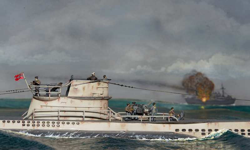A German U-boat makes a surface attack on an armed Allied merchantman during World War II in a diorama by Ed Strausberg. (Jack Lane photo/courtesy Ed Strausberg)