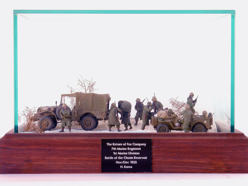 A diorama by Ed Strausberg depicts the U.S. Marine Corps at the Battle of the Chosin Reservoir in the Korean War. (Jack Lane photo/courtesy Ed Strausberg)