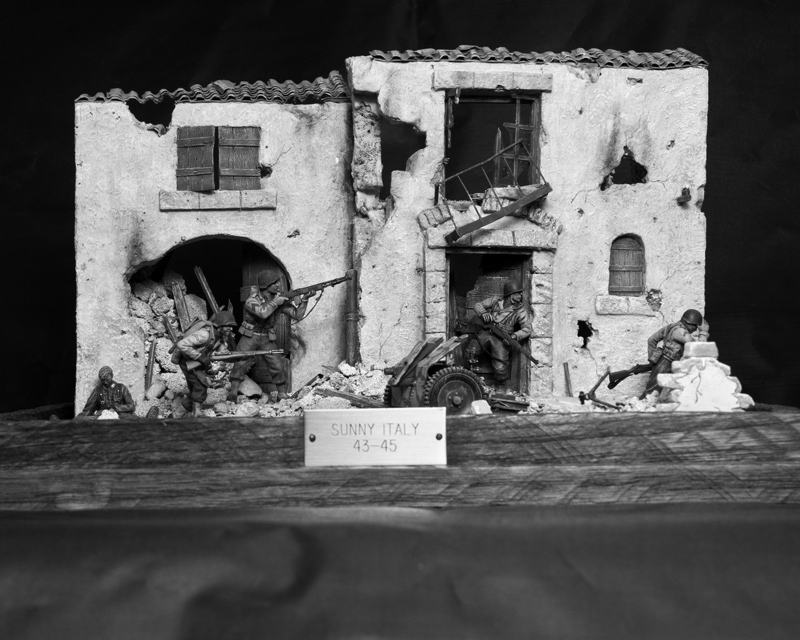 An Ed Strausberg diorama depicts the U.S. Army's 442nd Regimental Combat Team in Italy. Many of the team's soldiers were Japanese-Americans whose families were in U.S. internment camps. (Jack Lane photo/courtesy Ed Strausberg)