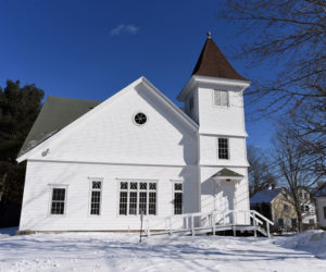 The Damariscotta United Methodist Church, at 40 Church St. in Damariscotta, is for sale. The congregation and the church-hosted pet food pantry plan to move to another space. (Jessica Picard photo)