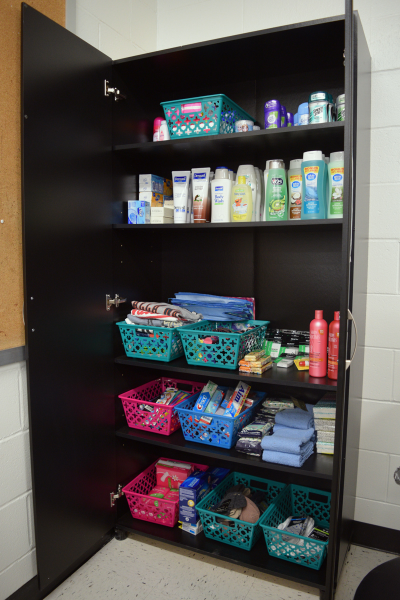 The comfort closet at Great Salt Bay Community School is full of items like shampoo and toothpaste, available free to any student. (Jessica Clifford photo)