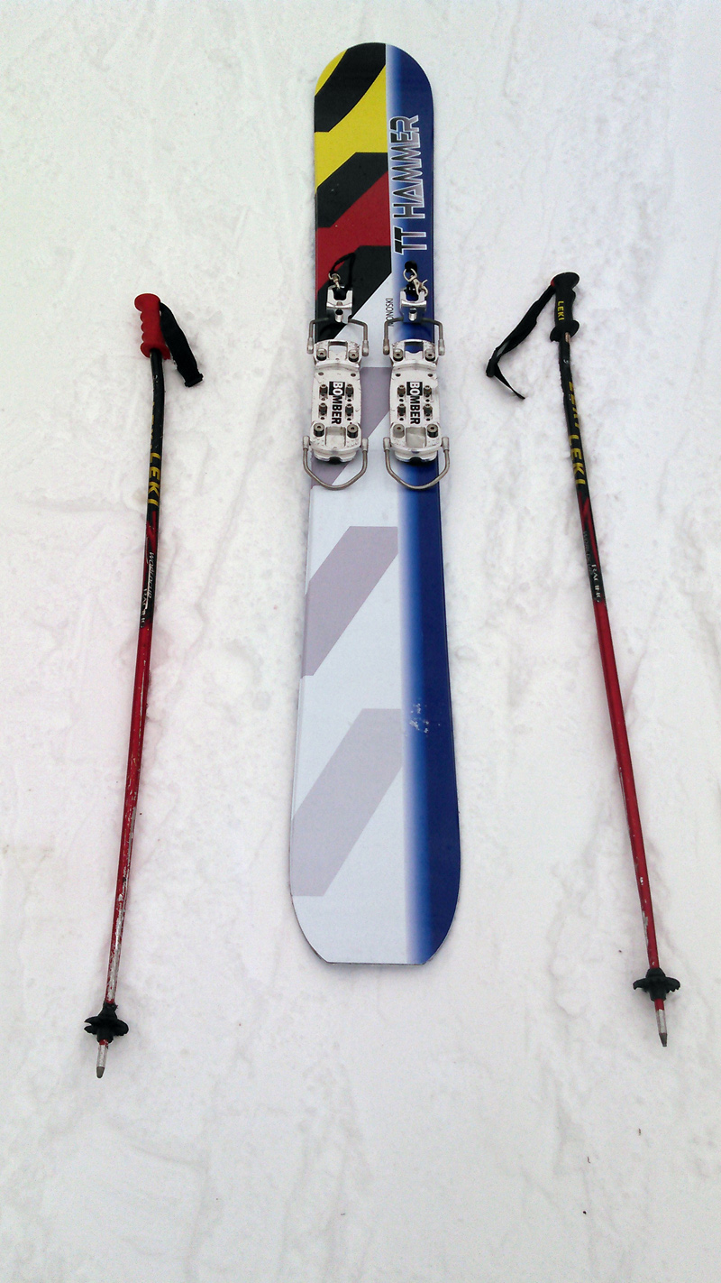 C.J. Turner's TT Hammer monoski. Unlike a snowboard, a monoski has side-by-side bindings and the skier uses the same boots and poles as one would with regular skis. (Photo courtesy Sunday River Resort)