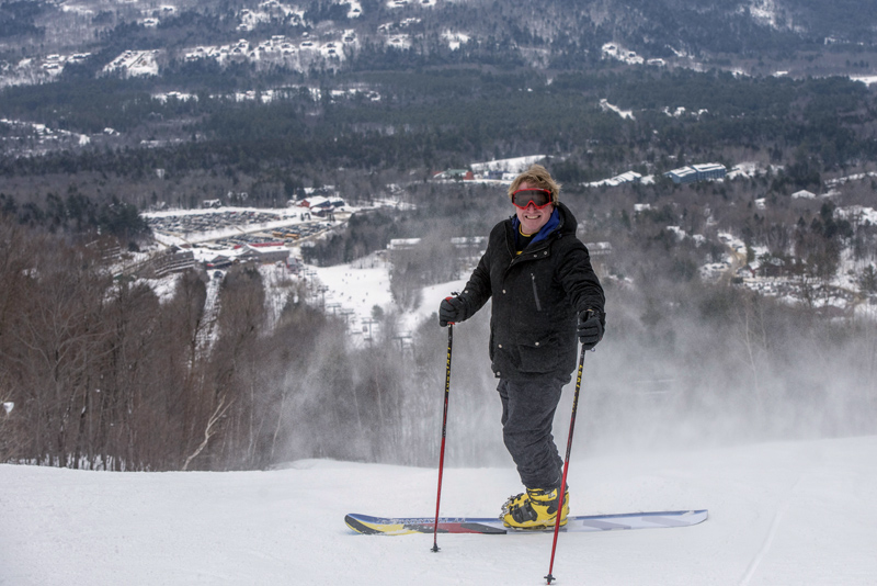 C.J. Turner prepares to hit the slopes on his monoski at Sunday River in Newry. (Photo courtesy Sunday River Resort)