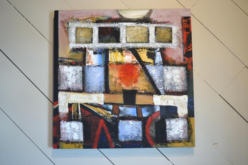 """Messenger,"" a 24-by-24-inch acrylic-on-burlap-on-wood panel painting by Jaap Eduard Helder. (Christine LaPado-Breglia photo)"