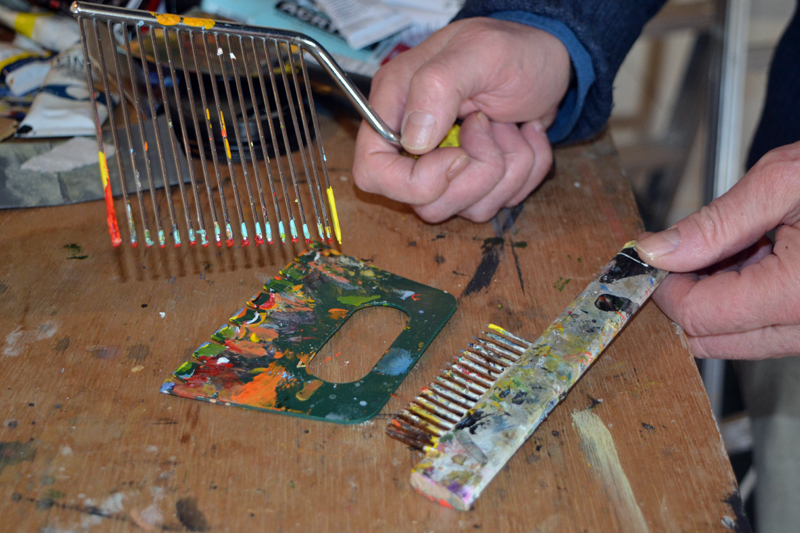Some of the tools used by Jaap Eduard Helder to achieve the textures he often incorporates into his paintings. (Christine LaPado-Breglia photo)