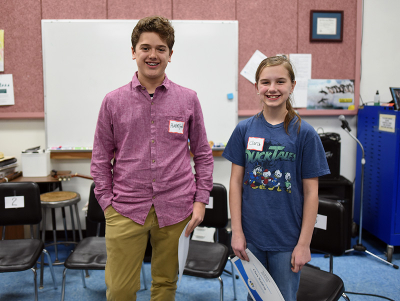 Bristol Consolidated School eighth-grader Harrison Pierpan and Jefferson Village School sixth-grader Clara Waldrop came in first and second place, respectively, at the Lincoln County Spelling Bee on Tuesday, Feb. 12. (Jessica Picard photo)