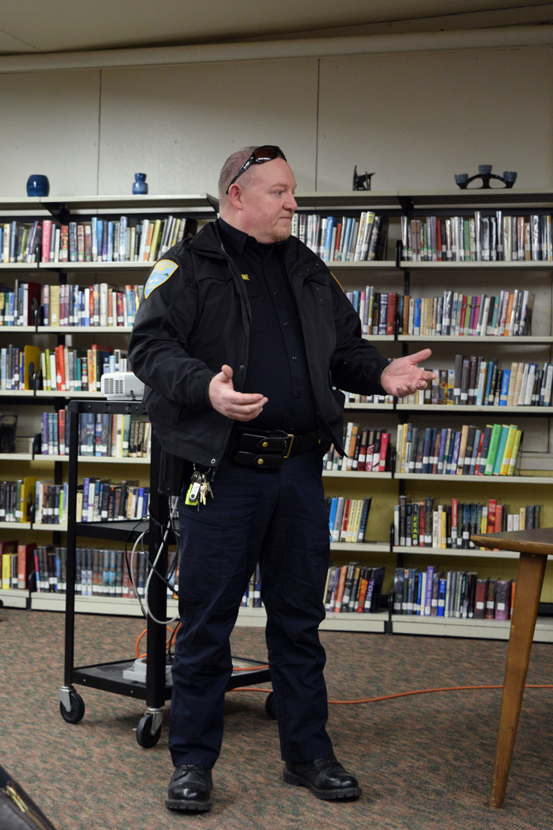 Wiscasset Police Chief Larry Hesseltine talks about his plan to bring the D.A.R.E. program to Wiscasset Elementary School. (Jessica Clifford photo)
