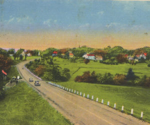 The new Route 1 bypass that went up by the Damariscotta Baptist Church and through the meadow and up the hill and across School Street around 1932. (Postcard from Marjorie and Calvin Dodge collection)