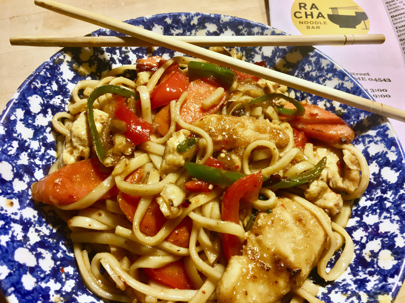 I have been loving the noodle dishes at Racha and tried my hand at making them at home. They weren't Racha, but they weren't bad. (Suzi Thayer photo)