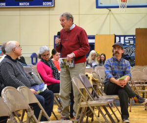 Bristol School Committee Chair Dave Kolodin speaks about the education budget during the annual town meeting on Tuesday, March 19. (Maia Zewert photo)