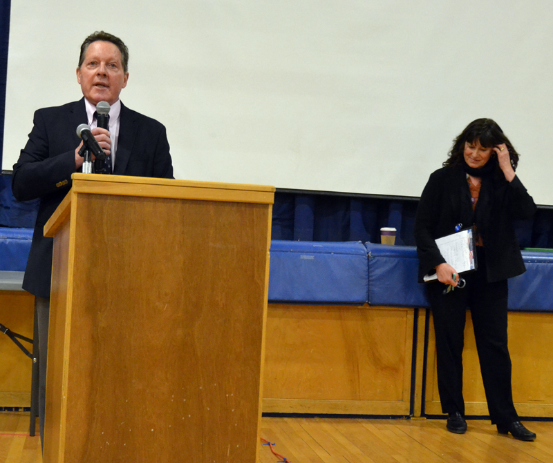 AOS 93 Superintendent Dr. Craig Jurgensen introduces Maine Commissioner of Education Pender Makin at Great Salt Bay Community School on Friday, March 15. (Maia Zewert photo)