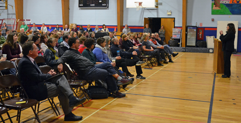 Maine Commissioner of Education Pender Makin addresses faculty and staff from AOS 93 and Lincoln Academy at Great Salt Bay Community School in Damariscotta on Friday, March 15. (Maia Zewert photo)