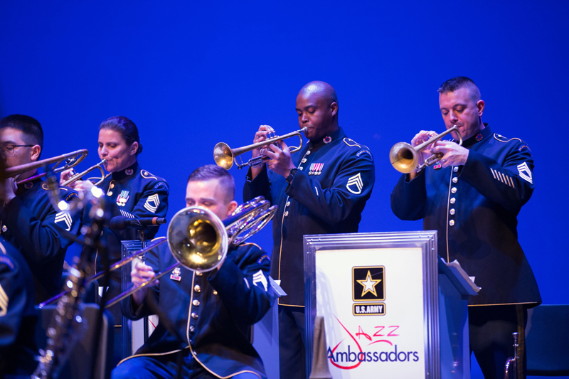 From left: U.S. Army Jazz Ambassadors members Staff Sgt. Matt Corrigan, trombone; Master Sgt. Liesl Whitaker, trumpet; Staff Sgt. Sean Casey, bass trombone; Staff Sgt. Thomas Davis, trumpet; and Master Sgt. John Altman, trumpet. (Photo courtesy Jared Morgan)