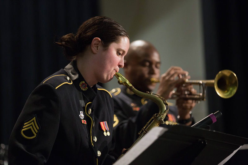 Staff Sgt. Mercedes Beckman, alto sax, and Sgt. 1st Class Thomas Davis, trumpet, members of the U.S. Army Jazz Ambassadors. (Photo courtesy Kevin Pick)