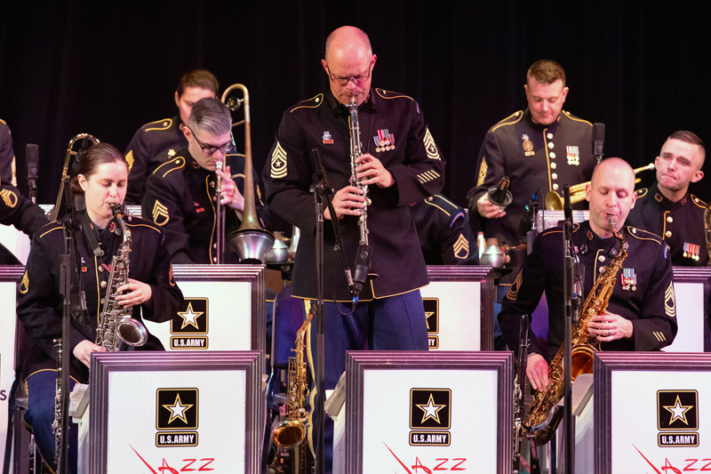 Sgt. Maj. Andrew Layton plays a clarinet solo, backed by members of the U.S. Army Jazz Ambassadors. (Photo courtesy Kevin Pick)