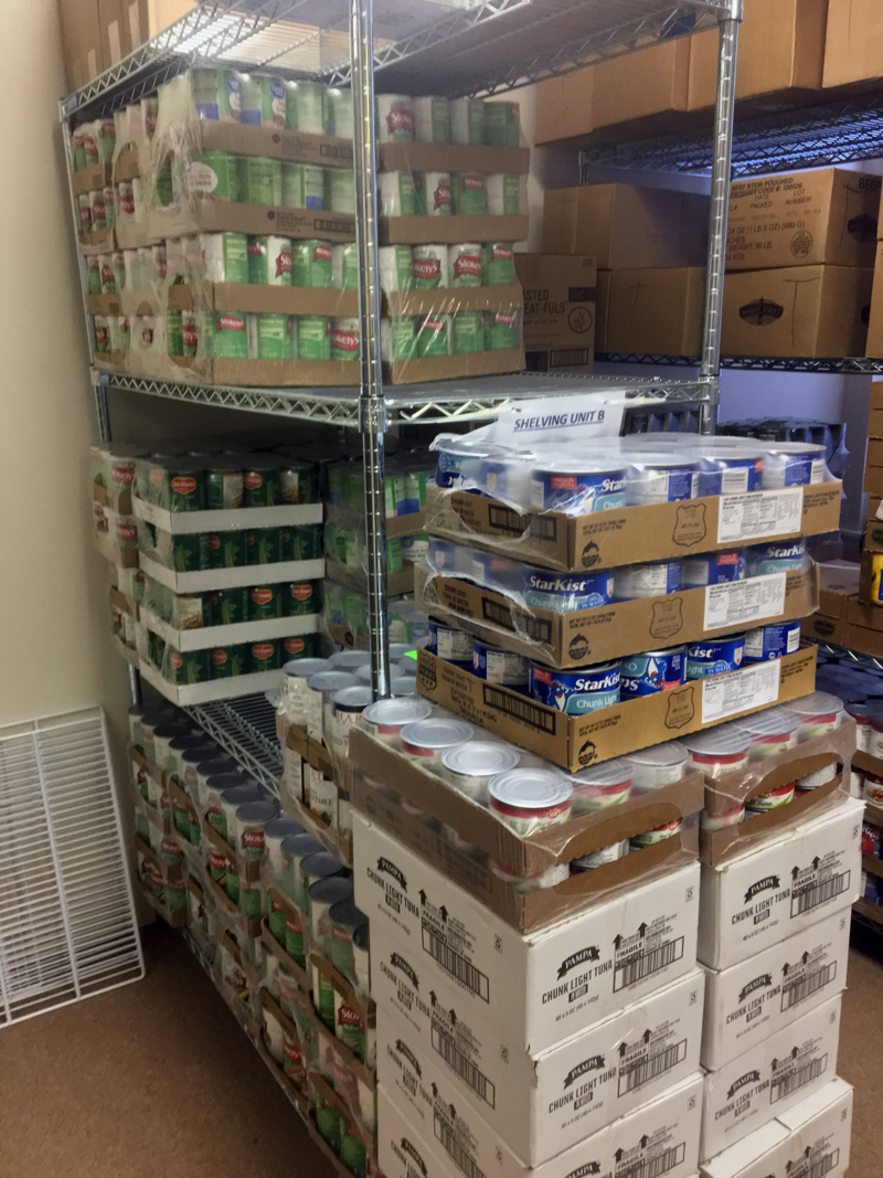 Canned goods ready for distribution at the Ecumenical Food Pantry in Newcastle. (Suzi Thayer photo)