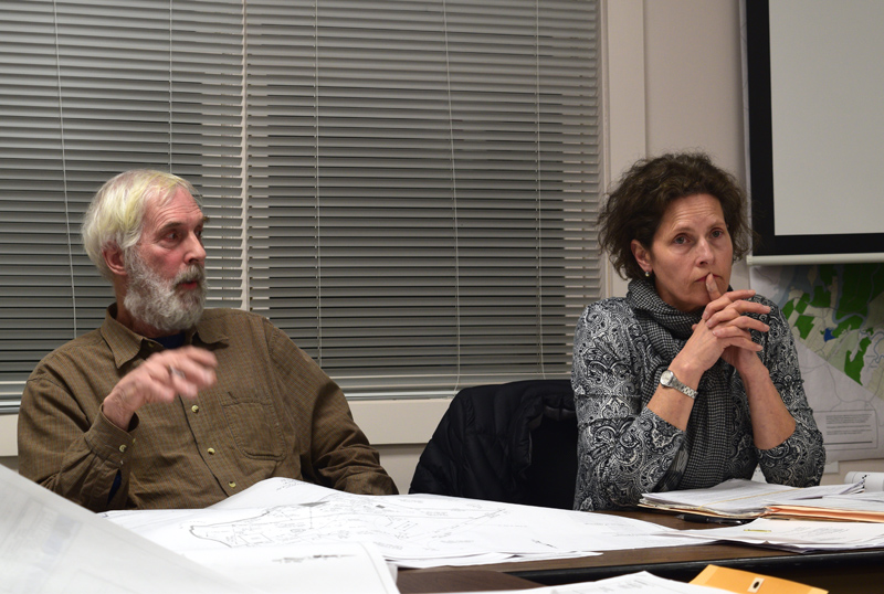 Newcastle Planning Board Vice Chair Rem Briggs speaks on the Post family's request to amend a 2017 building permit while board Chair Bonnie Stone looks on during a board meeting at the fire station Thurday, March 21. (Jessica Clifford photo)