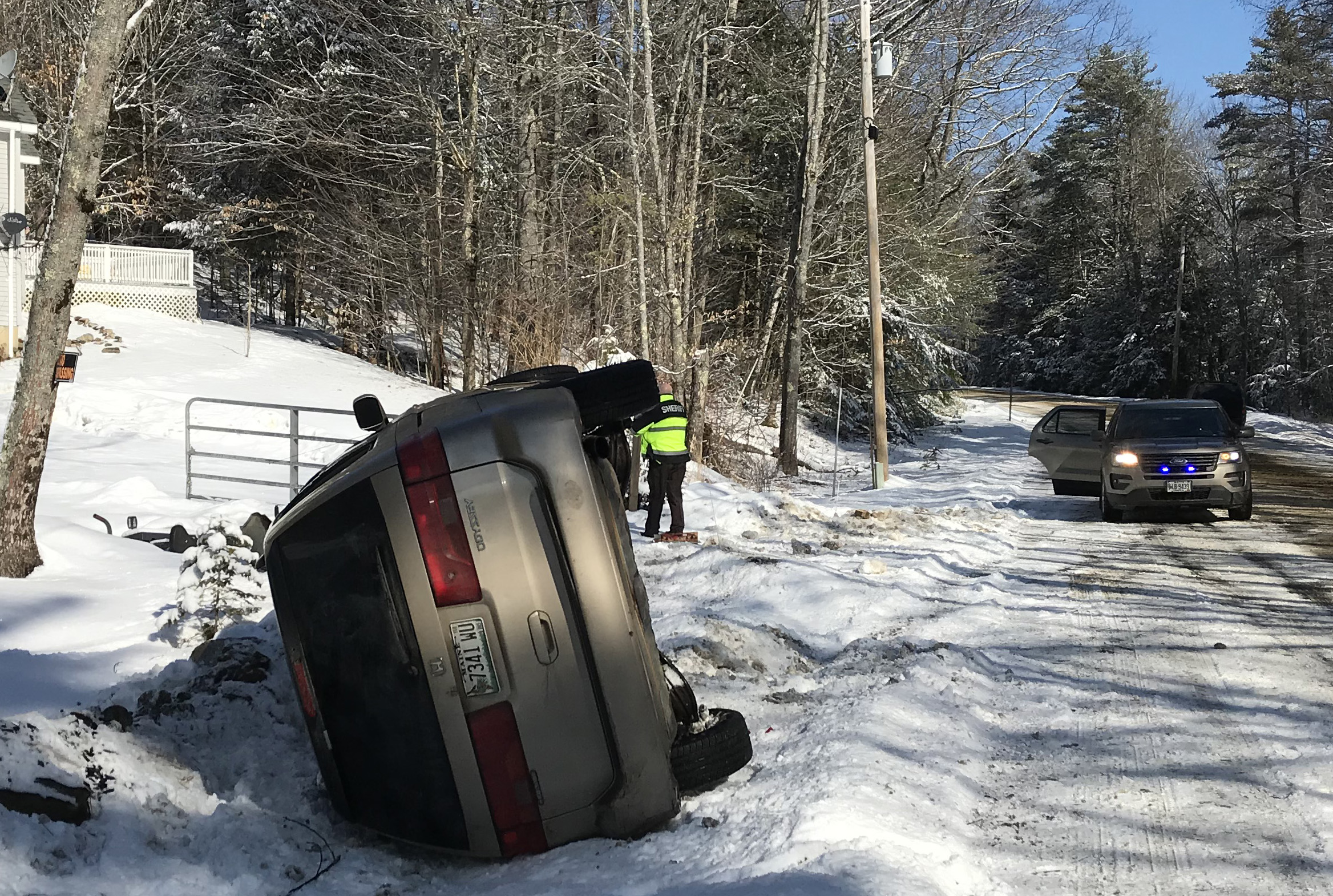 A 2001 Honda Odyssey rests on its side after a single-vehicle accident on East Pond Road in Nobleboro the morning of Sunday, March 3. There were no injuries, according to the Lincoln County Sheriff's Office.