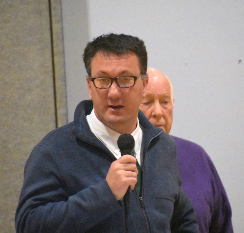 Nobleboro Central School Principal Martin Mackey talks about the budget for facilities maintenance during town meeting in the school gym Saturday, March 16. (Alexander Violo photo)